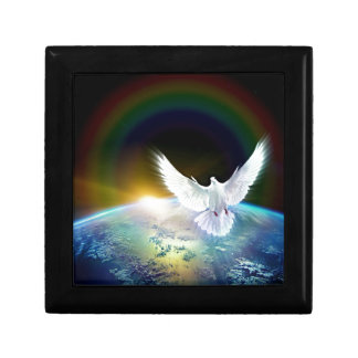 Dove of Peace Holy Spirit over Earth with Rainbow. Gift Box