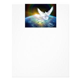 Dove of Peace Holy Spirit over Earth with Rainbow. Letterhead
