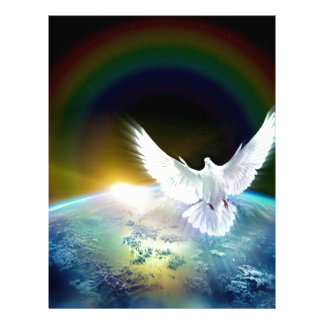 Dove of Peace Holy Spirit over Earth with Rainbow Letterhead