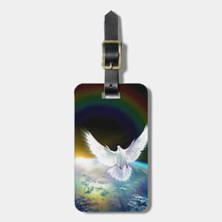 Dove of Peace Holy Spirit over Earth with Rainbow. Luggage Tag