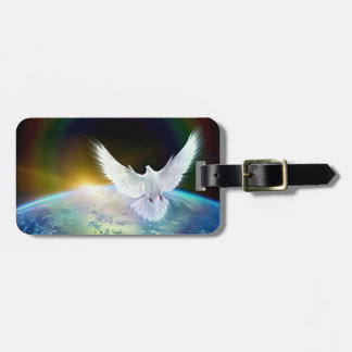 Dove of Peace Holy Spirit over Earth with Rainbow Luggage Tag
