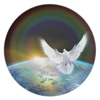 Dove of Peace Holy Spirit over Earth with Rainbow Plate