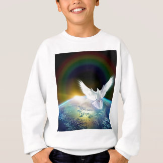 Dove of Peace Holy Spirit over Earth with Rainbow. Sweatshirt