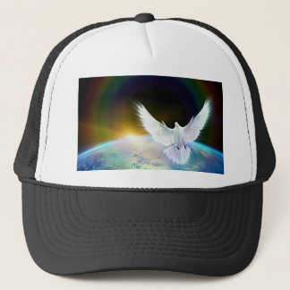 Dove of Peace Holy Spirit over Earth with Rainbow. Trucker Hat