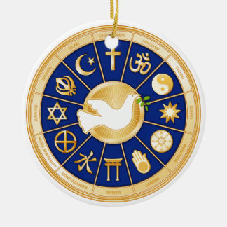 Dove of Peace Mandala Double-Sided Ceramic Round Christmas Ornament