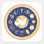 Dove of Peace Mandala Square Stickers