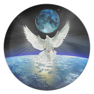 Dove of Peace over Earth from Space Plate