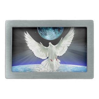 Dove of Peace over Earth from Space Rectangular Belt Buckle