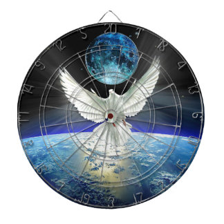 Dove of Peace over Planet Earth Sunrise Dartboard