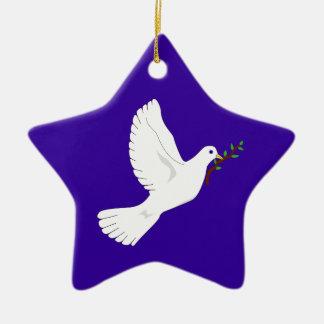 Dove of Peace (Purple) Ceramic Star Ornament