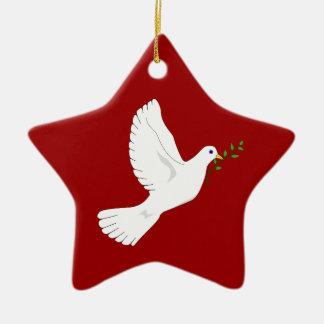 Dove of Peace (Red) Ceramic Star Ornament