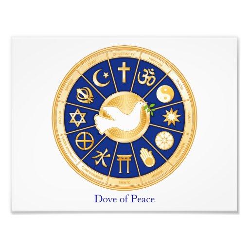 Dove of Peace, World Faith Mandala Photographic Print