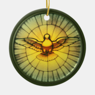 Dove of the Holy Spirit Round Ceramic Ornament