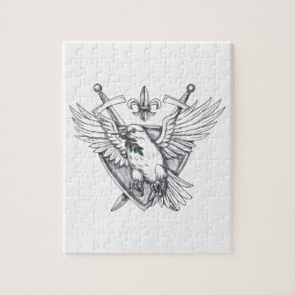 Dove Olive Leaf Sword Crest Tattoo Jigsaw Puzzle