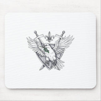 Dove Olive Leaf Sword Crest Tattoo Mouse Pad