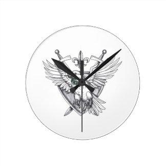 Dove Olive Leaf Sword Crest Tattoo Round Clock