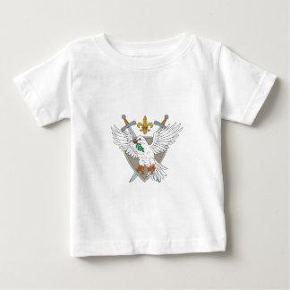Dove Olive Leaf Sword Fleur De Lis Crest Drawing Baby T-Shirt