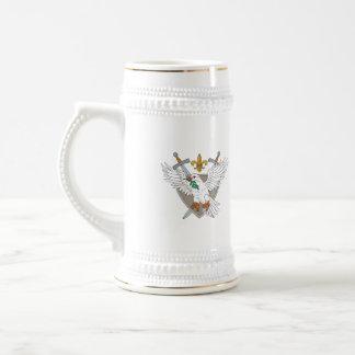 Dove Olive Leaf Sword Fleur De Lis Crest Drawing Beer Stein