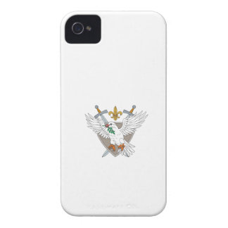 Dove Olive Leaf Sword Fleur De Lis Crest Drawing Case-Mate iPhone 4 Cases