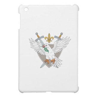 Dove Olive Leaf Sword Fleur De Lis Crest Drawing iPad Mini Cases