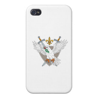 Dove Olive Leaf Sword Fleur De Lis Crest Drawing iPhone 4/4S Covers