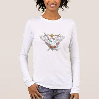 Dove Olive Leaf Sword Fleur De Lis Crest Drawing Long Sleeve T-Shirt