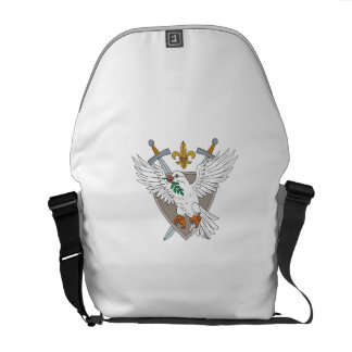 Dove Olive Leaf Sword Fleur De Lis Crest Drawing Messenger Bag
