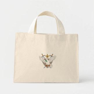 Dove Olive Leaf Sword Fleur De Lis Crest Drawing Mini Tote Bag