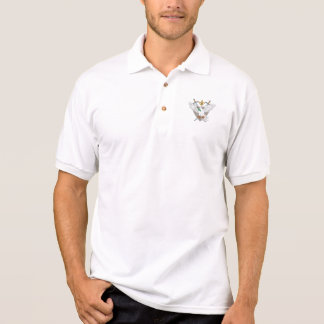 Dove Olive Leaf Sword Fleur De Lis Crest Drawing Polo Shirt