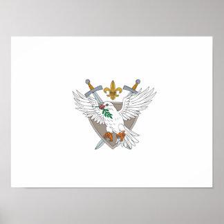 Dove Olive Leaf Sword Fleur De Lis Crest Drawing Poster