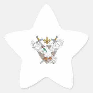 Dove Olive Leaf Sword Fleur De Lis Crest Drawing Star Sticker