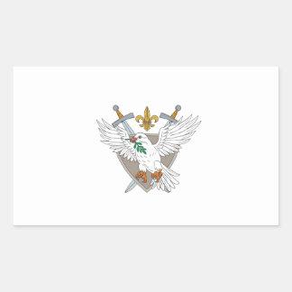 Dove Olive Leaf Sword Fleur De Lis Crest Drawing Sticker