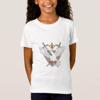Dove Olive Leaf Sword Fleur De Lis Crest Drawing T-Shirt