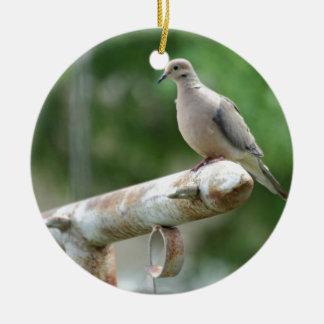 Dove on a Post Round Ceramic Ornament
