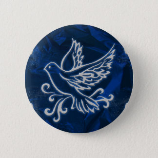 Dove on Blue Foil 2 Inch Round Button