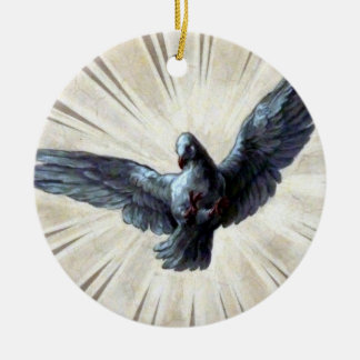 dove Double-Sided ceramic round christmas ornament