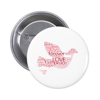Dove Peace Love Valentines Day Word Cloud Pin