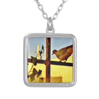 Dove Resting Silver Plated Necklace