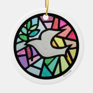 dove round ceramic ornament