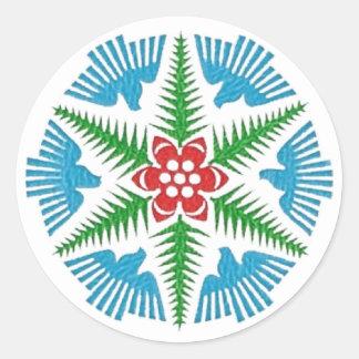 Dove Snowflake Classic Round Sticker