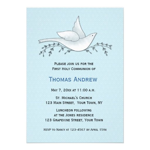 Dove with Branches, Blue, First Communion Personalized Announcements