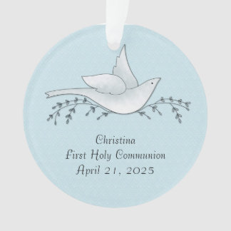 Dove with Branches, Blue, First Communion Ornament