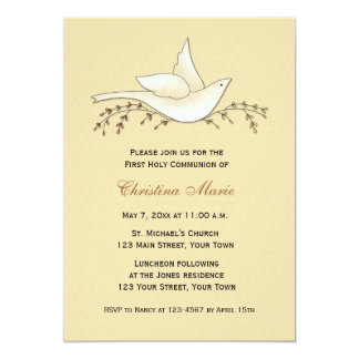"""Dove with Branches, Pale Yellow, First Communion 5"""" X 7"""" Invitation Card"""