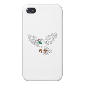 Dove With Olive Leaf Drawing Cases For iPhone 4