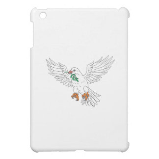 Dove With Olive Leaf Drawing iPad Mini Cover