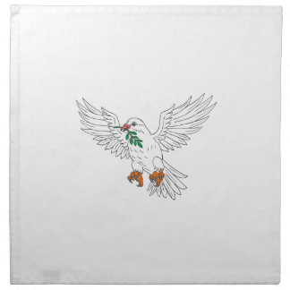 Dove With Olive Leaf Drawing Napkin