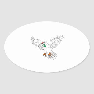 Dove With Olive Leaf Drawing Oval Sticker