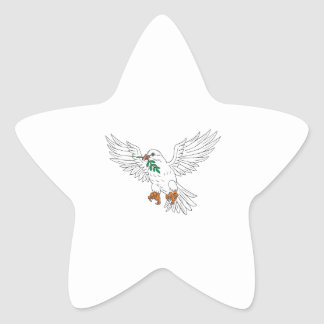 Dove With Olive Leaf Drawing Star Sticker