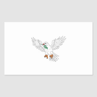 Dove With Olive Leaf Drawing Sticker