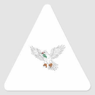 Dove With Olive Leaf Drawing Triangle Sticker